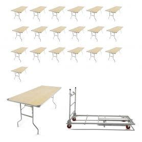 10 - TitanPRO™ 6' x 30'' Heavy Duty Birchwood Folding Banquet Table and Banquet Table Cart Bundle