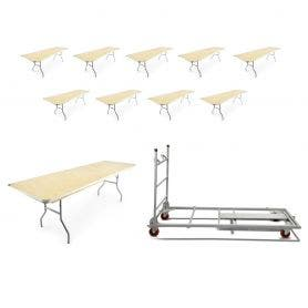 10 - TitanPRO™ 8' x 30'' Heavy Duty Birchwood Folding Banquet Table and Banquet Table Cart Bundle