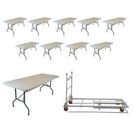 10 - TitanPRO™ 6' x 30'' Plastic Folding Banquet Table and Banquet Table Cart Bundle