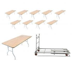 10 - Titan Series™ 6' x 30'' Wood Folding Banquet Table and Banquet Table Cart Bundle