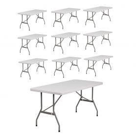 10 - TitanPRO™ 6' x 30'' Plastic Banquet Folding Tables Bundle