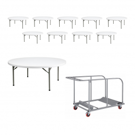 10 - TitanPro™ 60'' Round Plastic Folding Table with Universal Table Cart Bundle