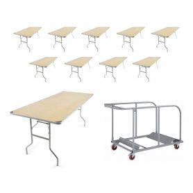 10 - 6' X 30'' TitanPRO™ Heavy Duty Birchwood Folding Table with Universal Table Cart Bundle