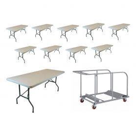 "10 6' x 30"" Plastic Folding Banquet Table and Universal Table Cart Bundle"