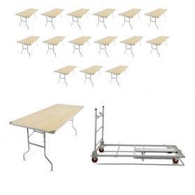 16 - TitanPRO™ 6' x 30'' Heavy Duty Birchwood Folding Banquet Table and Banquet Table Cart Bundle