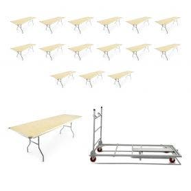 16 - TitanPRO™ 8' x 30'' Heavy Duty Birchwood Folding Banquet Table and Banquet Table Cart Bundle