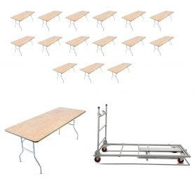 16 - Titan Series™ 6' x 30'' Wood Folding Banquet Table and Banquet Table Cart Bundle