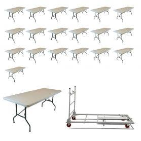 20 - TitanPRO™ 6' x 30'' Plastic Folding Banquet Table and Banquet Table Cart Bundle
