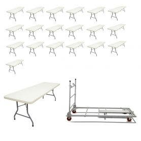20 - TitanPRO™ 8' x 30'' Plastic Folding Banquet Table and Banquet Table Cart Bundle