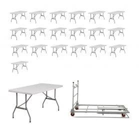 20 - Titan Series™ 6' x 30'' Plastic Folding Banquet Table and Banquet Table Cart Bundle