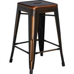 24'' High Industrial Metal Backless Barstool