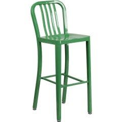 30'' High Metal Bar Stool with Vertical Slat Back