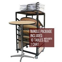 36'' Wooden Cocktail Table and Cart Bundle