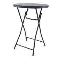 TitanPRO™ 32'' Blow Molded Plastic Folding Cocktail Table - Black