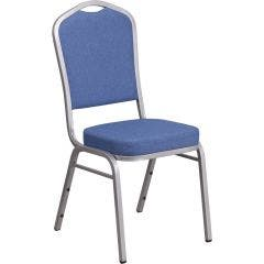 "Crown Back Stacking Banquet Chair With 2.5"" Thick Seat and Silver Frame"