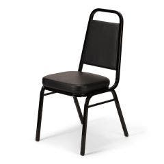 Trapezoidal Back Stacking Banquet Chair with Black Vinyl and 2.5'' Thick Seat - Black Frame