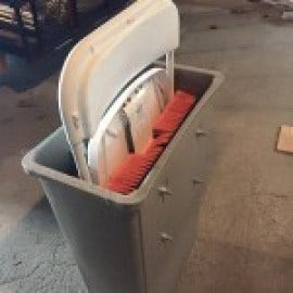 A great way to washing folding chairs - build a homemade chair washing machine
