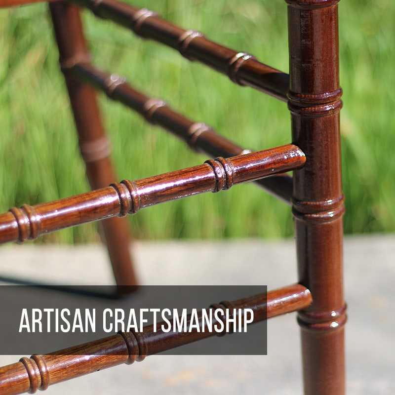 Our wooden chiavari chairs known for their artisan craftsmanship