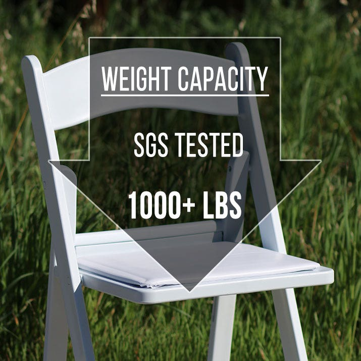 EventStable.com Resin Folding Chair has an SGS Tested Weight Capacity of 1000+ lbs static weight.  Dynamic weight rating 250 lbs.