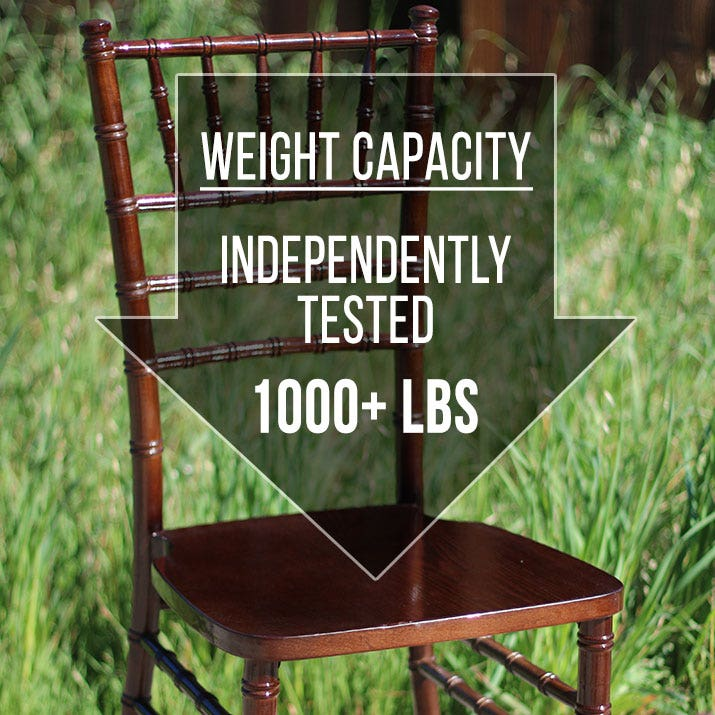 Our Wooden Chiavari Chairs have an independently tested weight capacity of over 1000 lbs