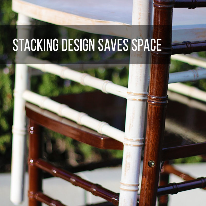 Shop now for our wood chiavari seating with a stacking design that saves space