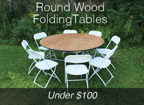 Round Wood Folding Tables under $100